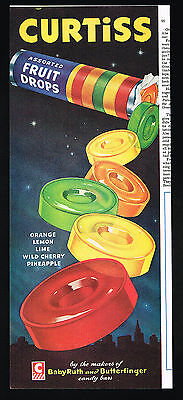 1951 Curtiss Assorted Fruit Drops Candy Color Vintage Print Ad