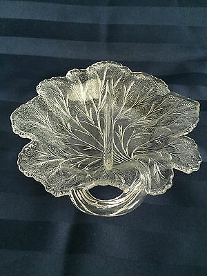 """Relish Divided Dish Clear Indiana Glass Pebble Leaf Pattern 8"""" Vintage"""