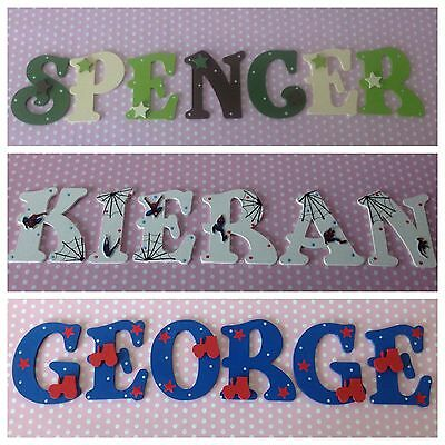 New Baby/Boys Name Wooden Letter Bedroom Nursery Door Wall Art  ANY COLOUR/THEME
