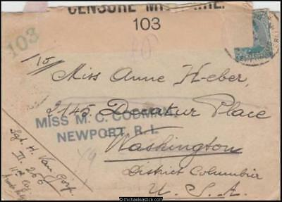 Belgium 1917 (Sep) Censored Military Cover/Letter Redirected Newport RI USA
