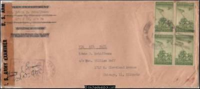 Philippines 1945 (Aug) Censored Military Cover Taclobain Leyte to Chicago IL