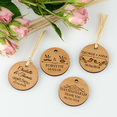 Personalised Laser Engraved Wooden Round Circle Wedding/Engagement Gift Tag