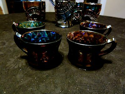 Old Imperial Purple HEAVY GRAPE Punch Cups,  Lot of Five  -  Scarce Find