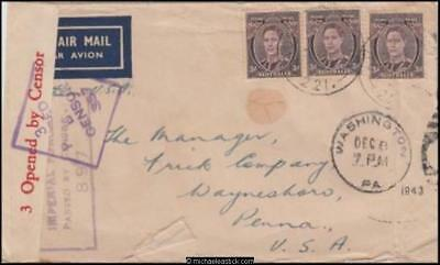 Australia 1943 (Nov?) Censored Military Cover Victoria To Waynesboro PA USA