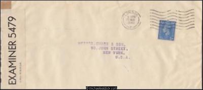 Great Britain 1942 (Mar) Censored Commercial Cover London to New York USA