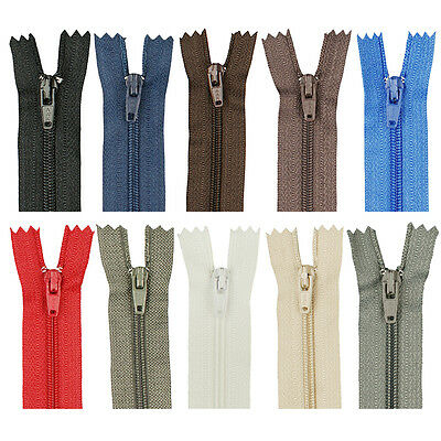 5/50PCs Pop Assorted Dress Upholstery Craft Nylon Metal Closed Open Ended Zips