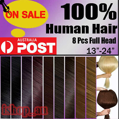 """Real Human Hair Extensions Clip In Full Head 22"""" 110G 8 Pieces Many Colors Aust"""