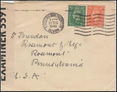 Great Britain 1942 (Dec) Censored Commercial Cover Devon to Rosemont PA USA