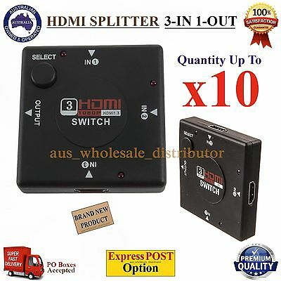 1080p HDMI Splitter 3-in 1-out Cable Duplicator Adapter Amplifier Port V1.4 Hub