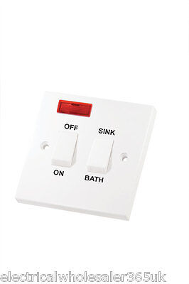 Dual Immersion Switch Sink / Bath 20A Double Pole With Neon Selectric LG221N