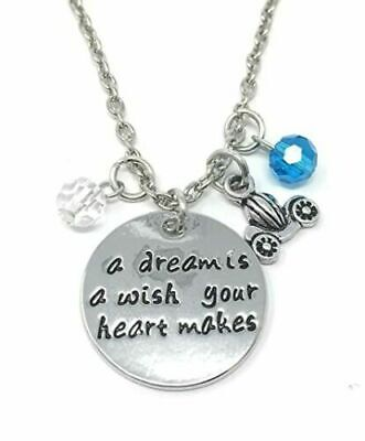 A Dream Is A Wish Your Heart Makes Charms Pendant Necklace Silver Cinderella