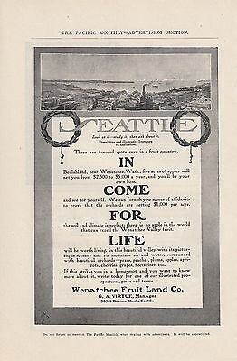 1907 Wenatchee Fruit Land Co Seattle WA Ad: Beulahland Five Acres of Apples