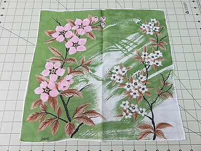 "Vintage Colette Handkerchief-Dogwood? Floral- Pink Green Brown- 15"" Square"