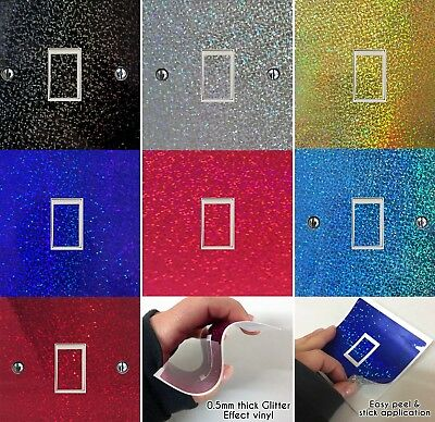 Glitter Vinyl Light Switch Cover, Various Colours, Any room, Sticker Decal, LS40