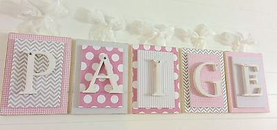 Pink and Gray Nurser Letters,Nursery Letters,Girls Bedroom Wall Art,Wood Letters