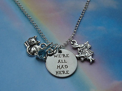 We're All Mad Here Charms Pendant Necklace Silver Alice In Wonderland