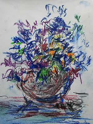 F.W.W. - Expressionist Oil Pastel Still Life on Paper - Signed - Unframed - 2005