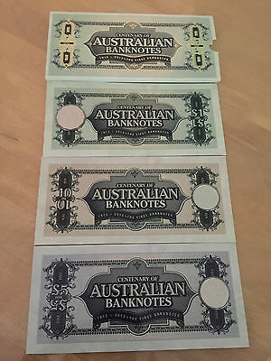 1913 - 2013 Unc Australian Banknotes Centenary Set Of 3 Coins With Outer Sleeve