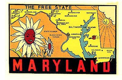 Vintage Maryland Free State Flower Travel Water Decal