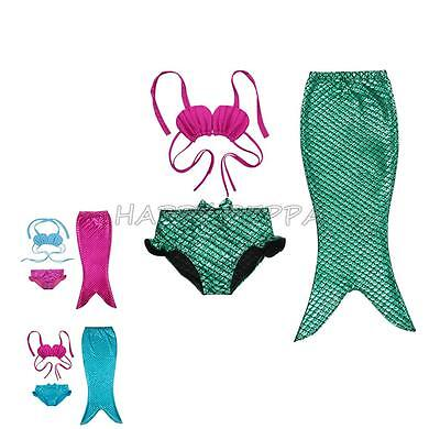 3pcs Girls Kids Mermaid Tail Bikini Set Suit Baby Swimwear Beach Costume Bathing