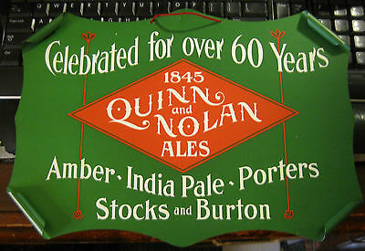 Pre-Pro 1905 Quinn And Nolan Ale & Beer Metal - Tin Scrolled Edge Sign Albany Ny