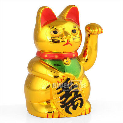 "5"" Golden Chinese Fortune Wealth Lucky Money Waving Cat Feng Shui Decoration New"