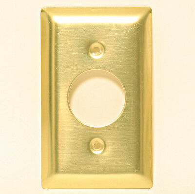 """Wall Plate Polished Brass Electric Cable Wire 1 3/8"""" Round Circle Hole 1.375"""""""