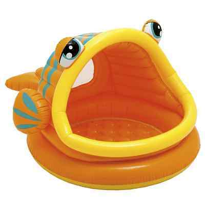 Intex Lazy Fish Baby Pool Toddler Fun Sun-Shade Kids Canopy Inflatable Swimming