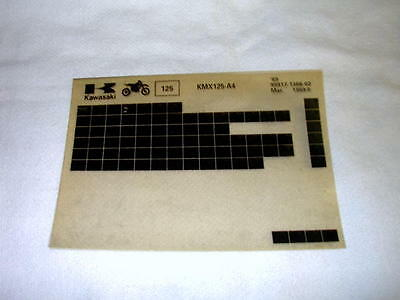 Kawasaki Kmx125 Kmx 125 A4 Gen Part Catalogue Microfiche
