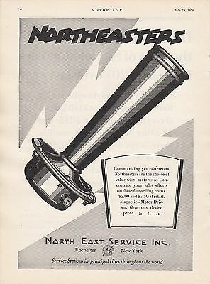 1928 North East Service Rochester NY Ad Northeaster Horn for Value-Wise Motorist