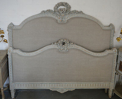 Antique French King size Louis XVI style Upholstered Bedstead Carved wood detail
