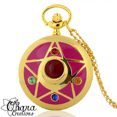 collana orologio con catena lunga color oro, sailor moon luna anime cosplay