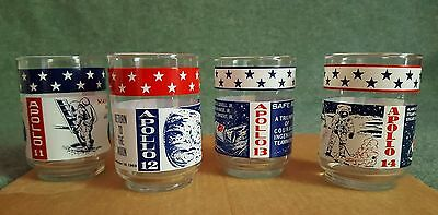Vintage Set of 4 Apollo Missions Tumblers Patriotic Glasses Red White Blue 70's
