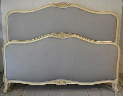 "French 4'6"" Louis XV style grey Upholstered Bedstead Carved Gilt detail"