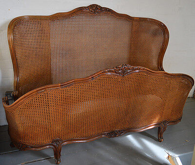 Beautiful French 5' Walnut Louis XV style cane Bedstead Carved detail