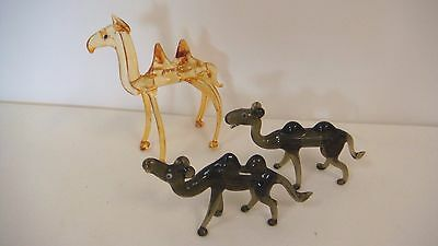 Vintage Hand Blown Glass Brown Miniature Camel