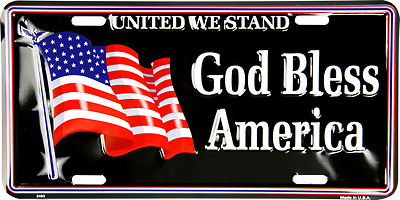 "United We Stand God Bless America USA US American Flag 6""x12"" License Plate"