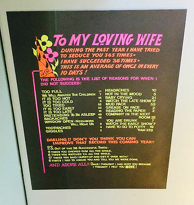 To My Loving Wife vintage blacklight poster Sex pin-up 1970's Newlywed Seduce