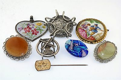 8 pc Vintage Costume Jewelry Lot Pin Limoges Rosenthal Heart Freirich