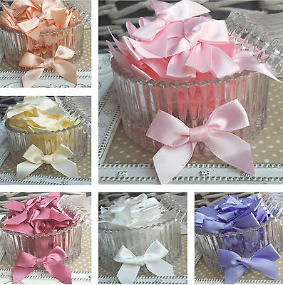 10 / 20 packs of Satin Ribbon pre-tied bows.3mm, 7mm, 15mm Pink,White,Peach,Blue