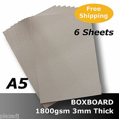 6 x BoxBoard Backing Card ChipBoard 1800gsm 3mm A5 100% ReCycled #B1805 #D1