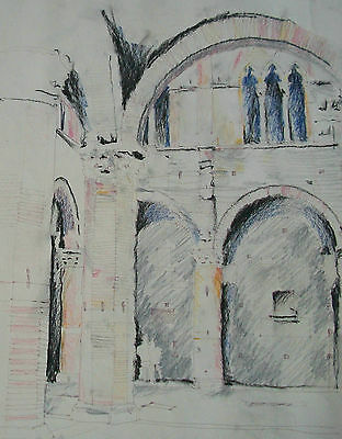Italian Architectural Mixed Media Drawing on Paper - Signed - Unframed - C. 1984