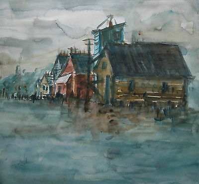 D.J. BUSH - Expressionist Watercolor Painting - Signed - Unframed - 20th Century