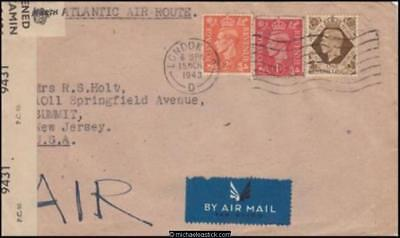 Great Britain 1943 (Mar) Censored Cover London to Summit New Jersey USA