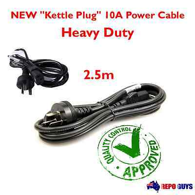 "AU 3 Pin to IEC ""Kettle Cord"" Plug Australian 240V 2.5m Power Cable Lead Cord"