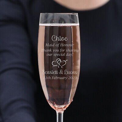 Personalised Favours Customised Wedding Glasses Set - Engraved Champagne Flutes