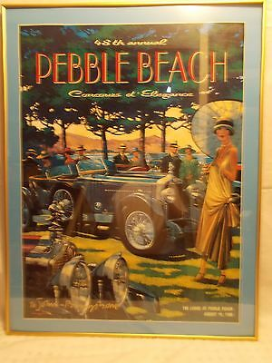 1998 SIGNED Framed Pebble Beach Concours Fine Art Print Poster MINERVA AKS ROWE