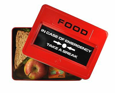 Take A Break Fire Alarm Shaped Emergency Food Tin Packed Lunch Box