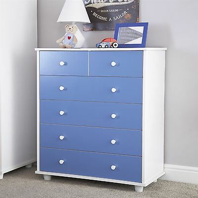 Miami Range 4 + 2 Drawers Chest Dressing Table Cabinet Storage Blue For Boys