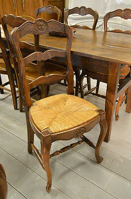 French Country Set of 6 Louis XV Beech Rush Seated Ladder Back Chairs